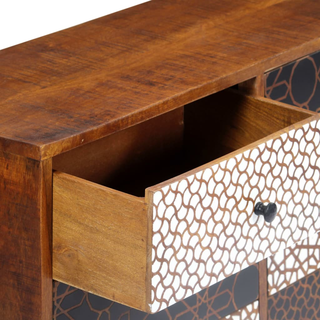 Sideboard with Printed Pattern 90x30x70 cm Solid Mango Wood 7