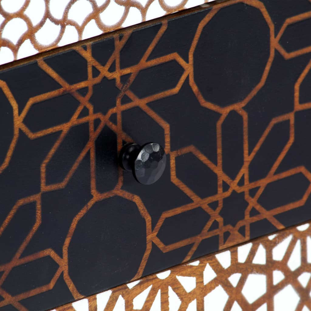 Sideboard with Printed Pattern 90x30x70 cm Solid Mango Wood 8