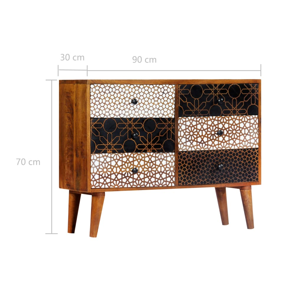 Sideboard with Printed Pattern 90x30x70 cm Solid Mango Wood 9
