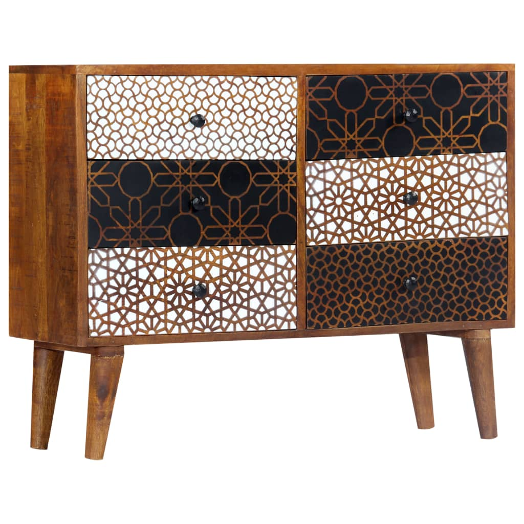 Sideboard with Printed Pattern 90x30x70 cm Solid Mango Wood 10