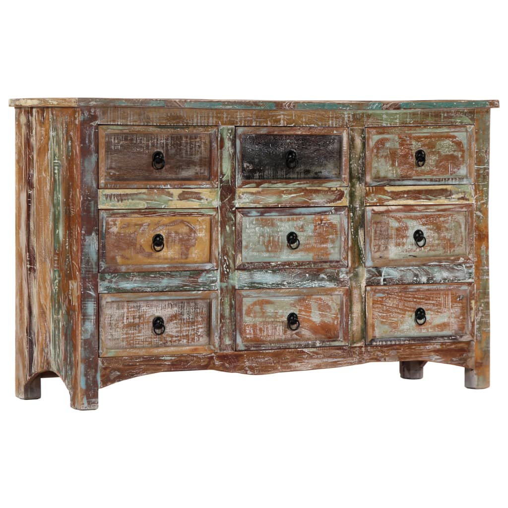 Chest of Drawers 130x40x80 cm Solid Reclaimed Wood 1