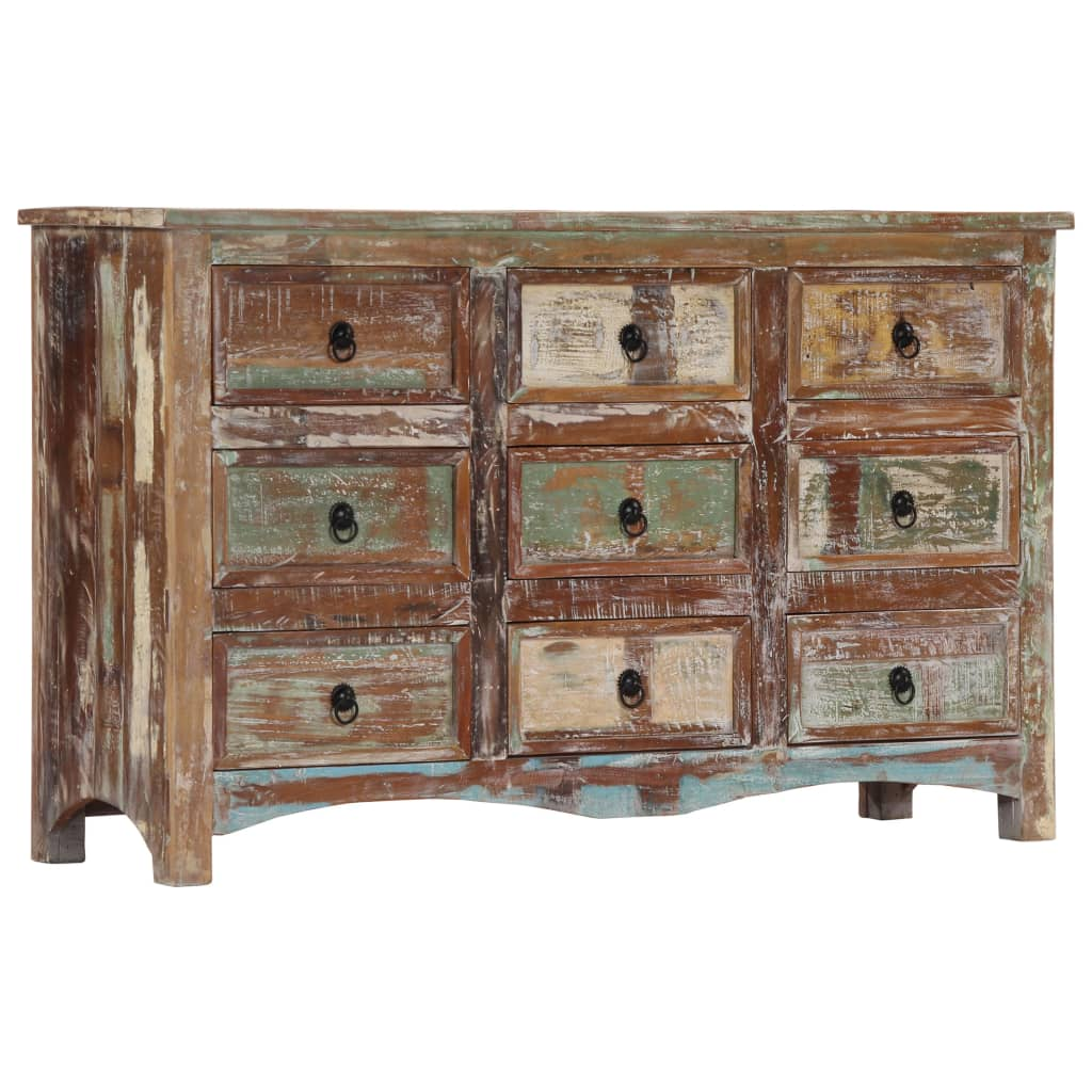 Chest of Drawers 130x40x80 cm Solid Reclaimed Wood 11