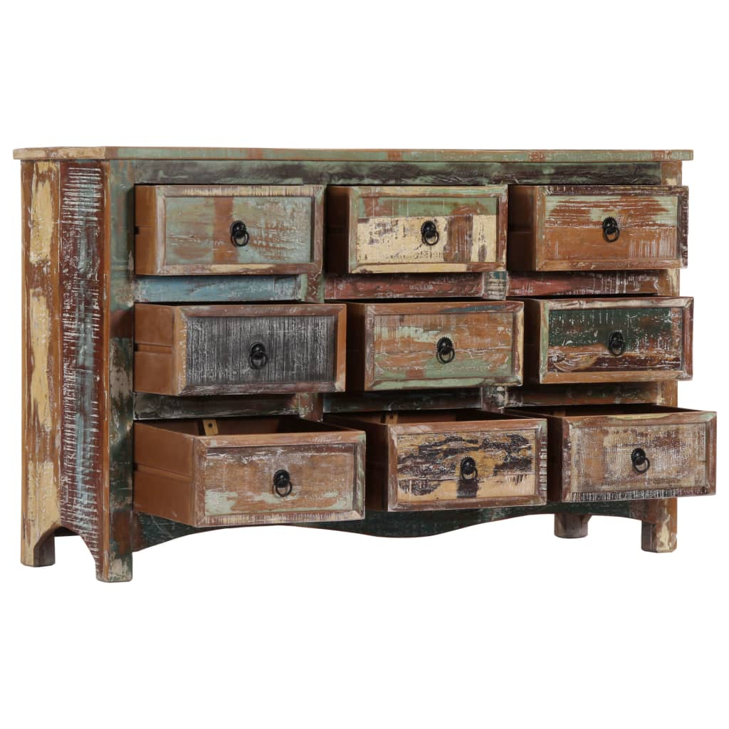 Chest of Drawers 130x40x80 cm Solid Reclaimed Wood 5