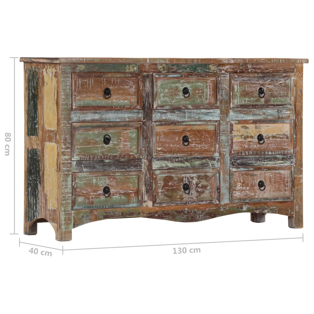 Chest of Drawers 130x40x80 cm Solid Reclaimed Wood 7