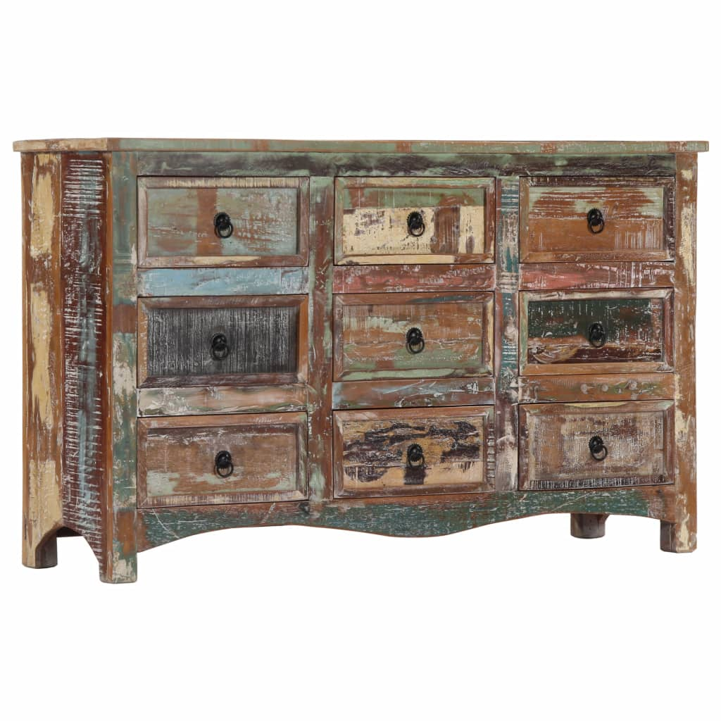 Chest of Drawers 130x40x80 cm Solid Reclaimed Wood 9