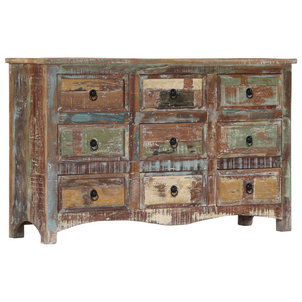 Chest of Drawers 130x40x80 cm Solid Reclaimed Wood 10