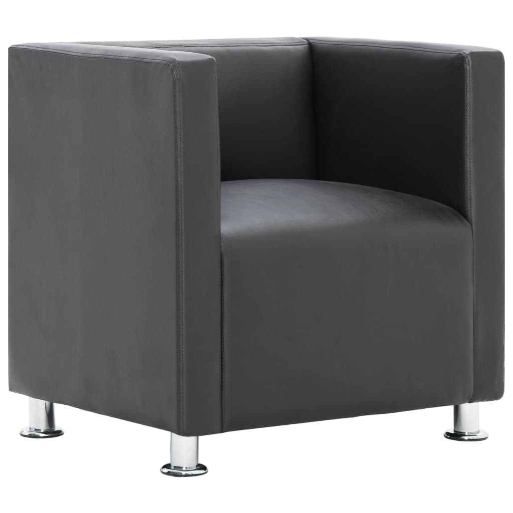 Cube Armchair Grey Faux Leather 2
