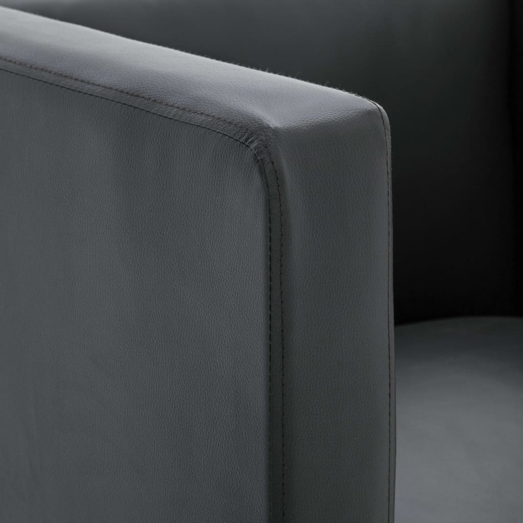 Cube Armchair Grey Faux Leather 3