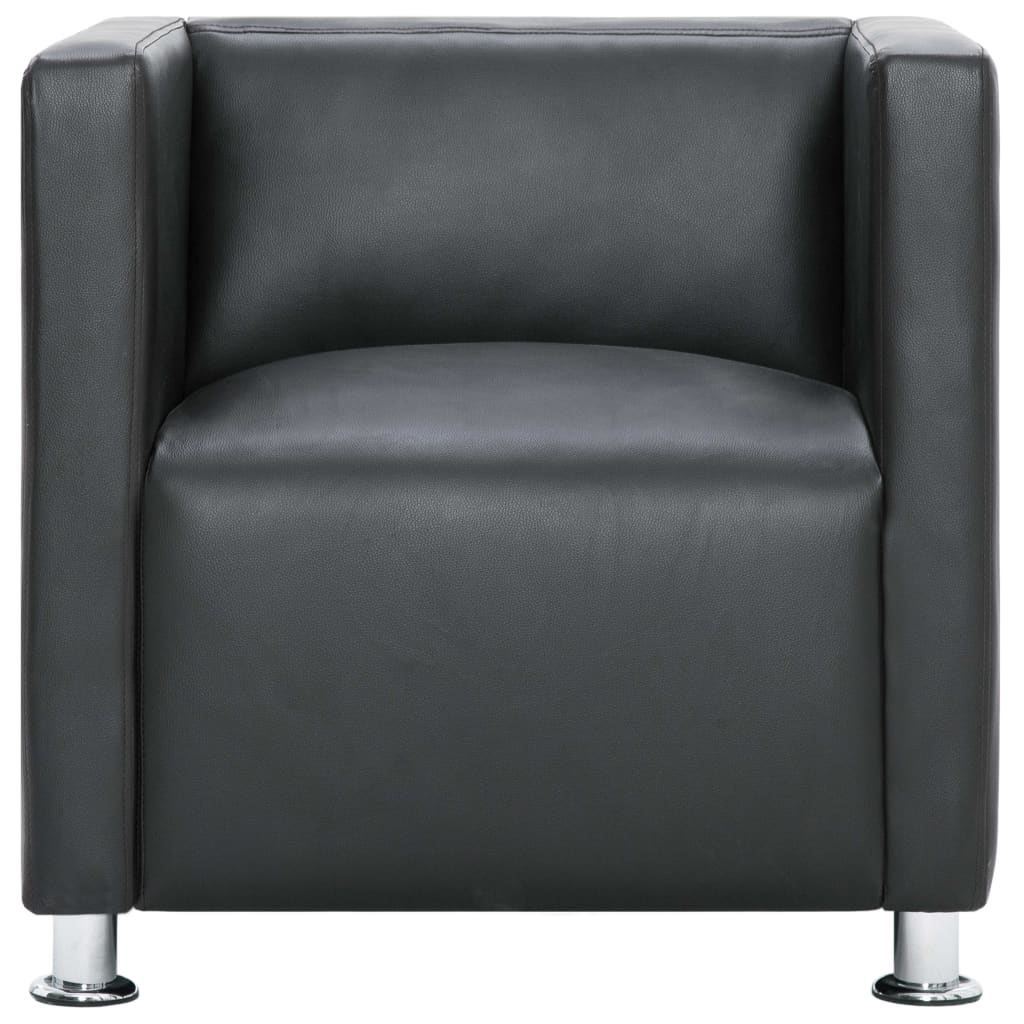 Cube Armchair Grey Faux Leather 5