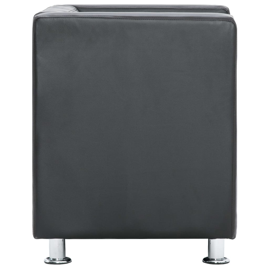 Cube Armchair Grey Faux Leather 6