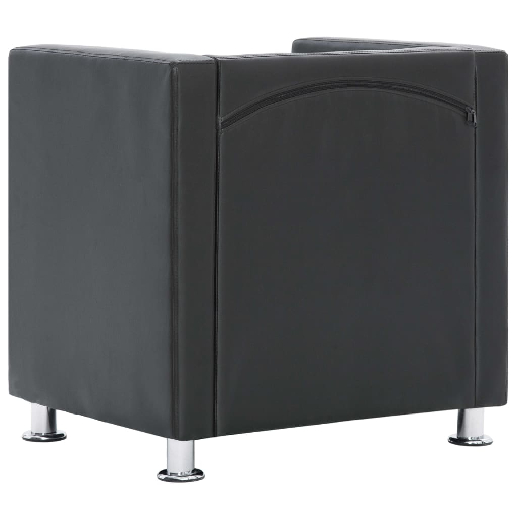 Cube Armchair Grey Faux Leather 7