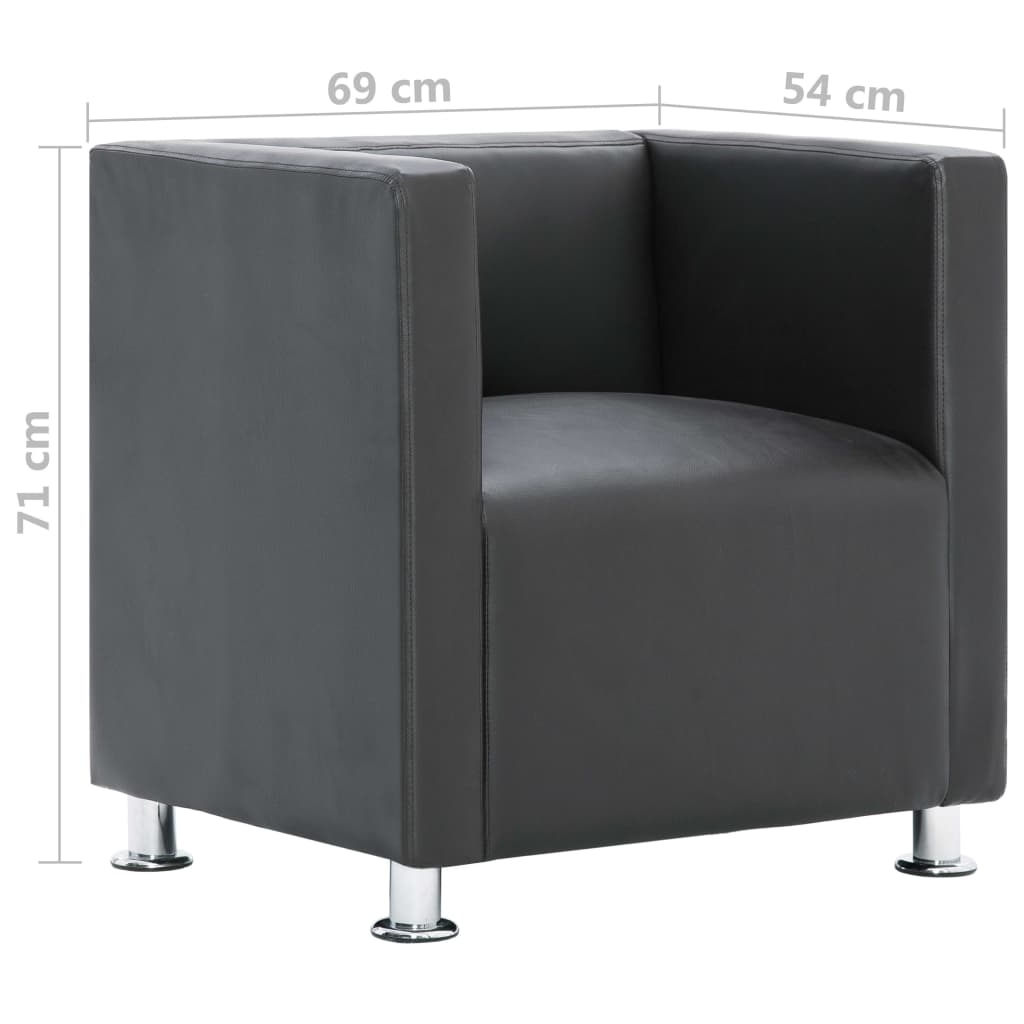 Cube Armchair Grey Faux Leather 9