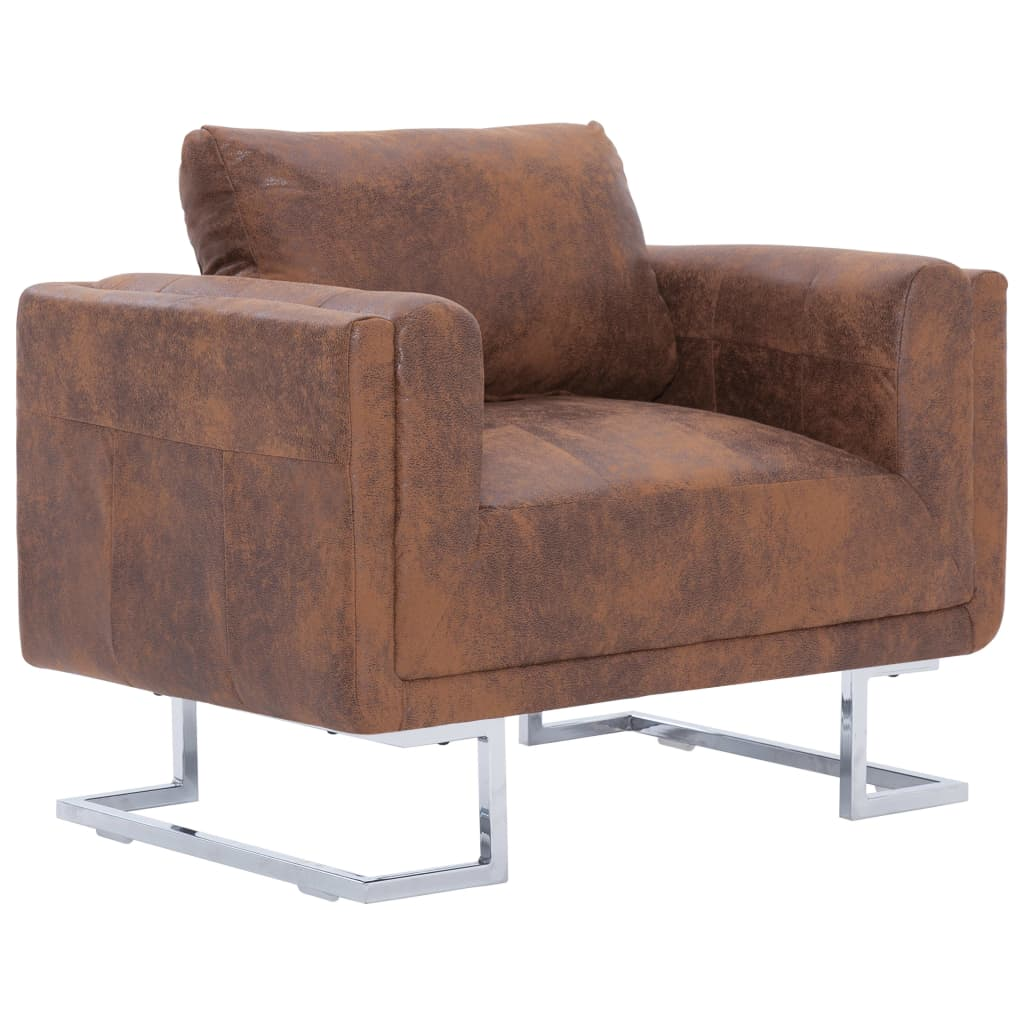 Cube Armchair Brown Faux Suede Leather 2