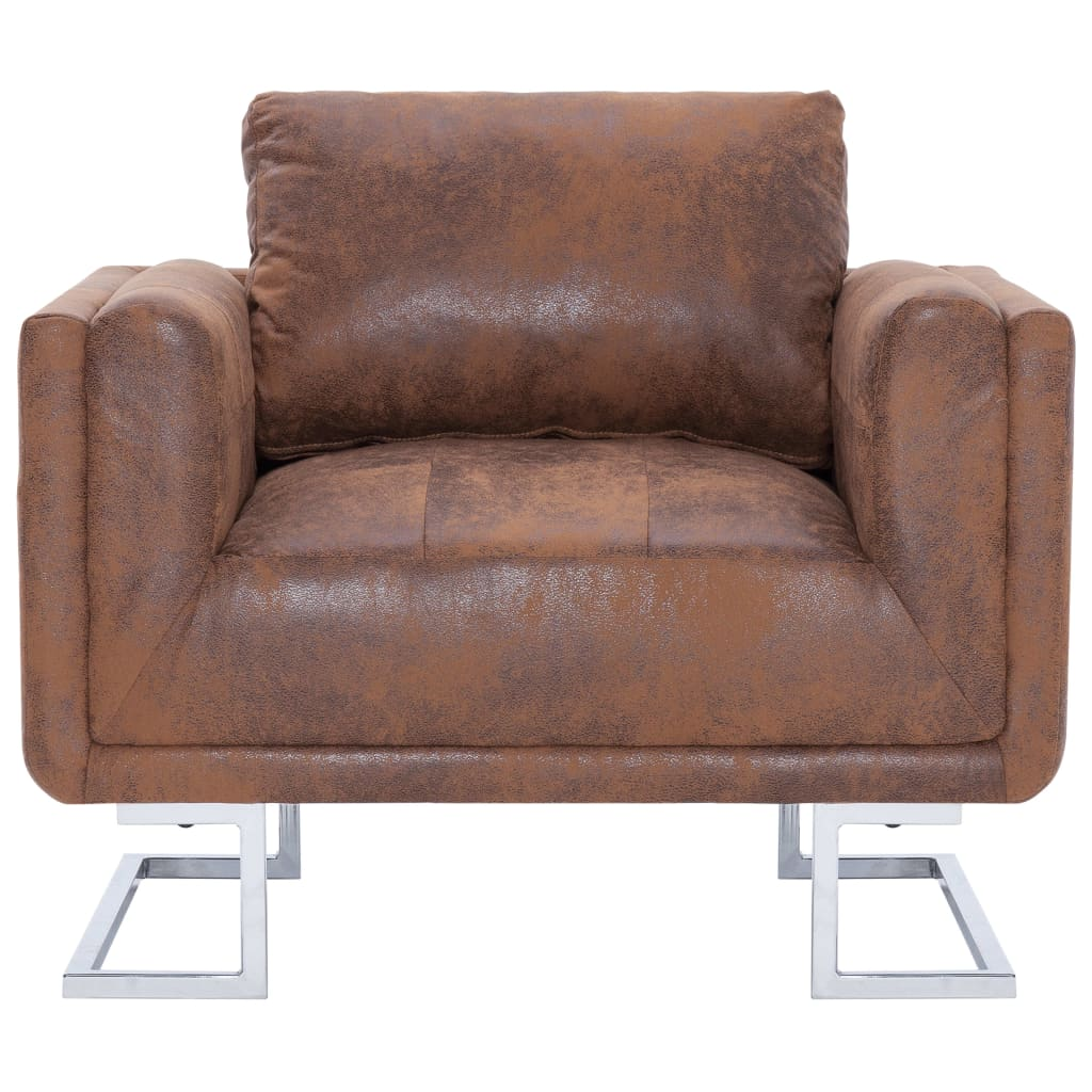 Cube Armchair Brown Faux Suede Leather 4