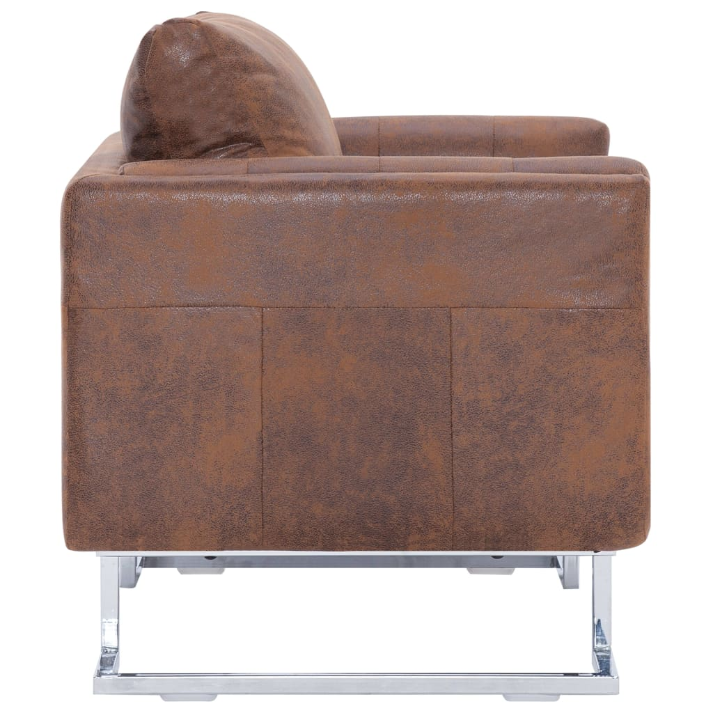 Cube Armchair Brown Faux Suede Leather 5