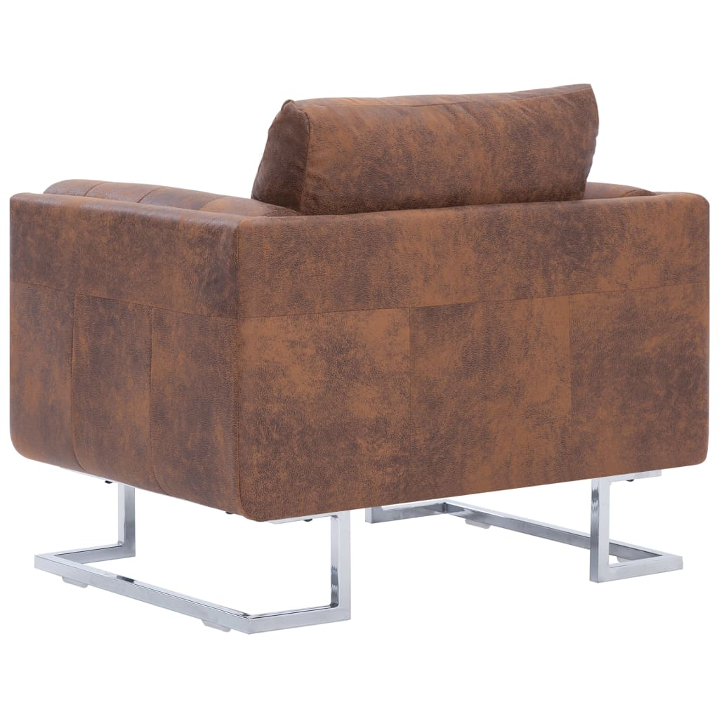 Cube Armchair Brown Faux Suede Leather 6
