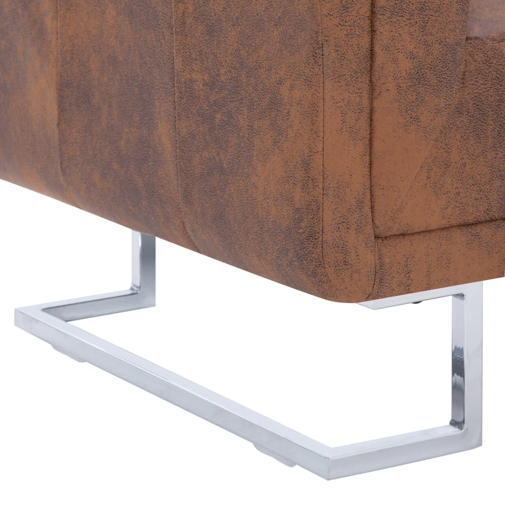 Cube Armchair Brown Faux Suede Leather 7