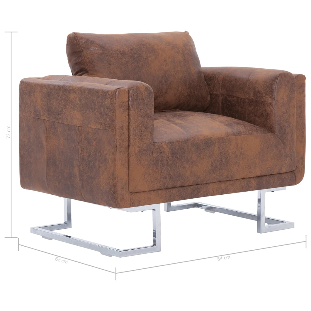 Cube Armchair Brown Faux Suede Leather 8