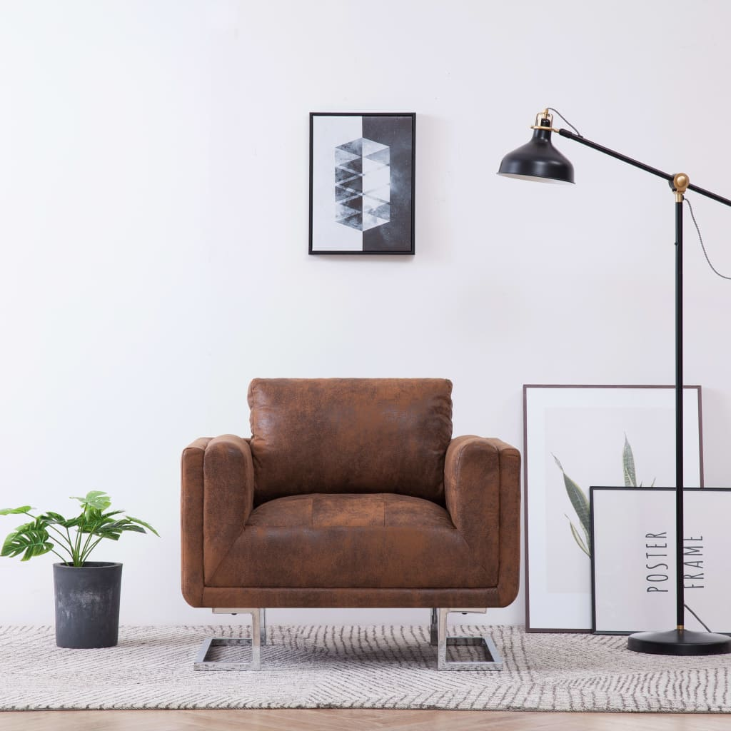 Cube Armchair Brown Faux Suede Leather 1