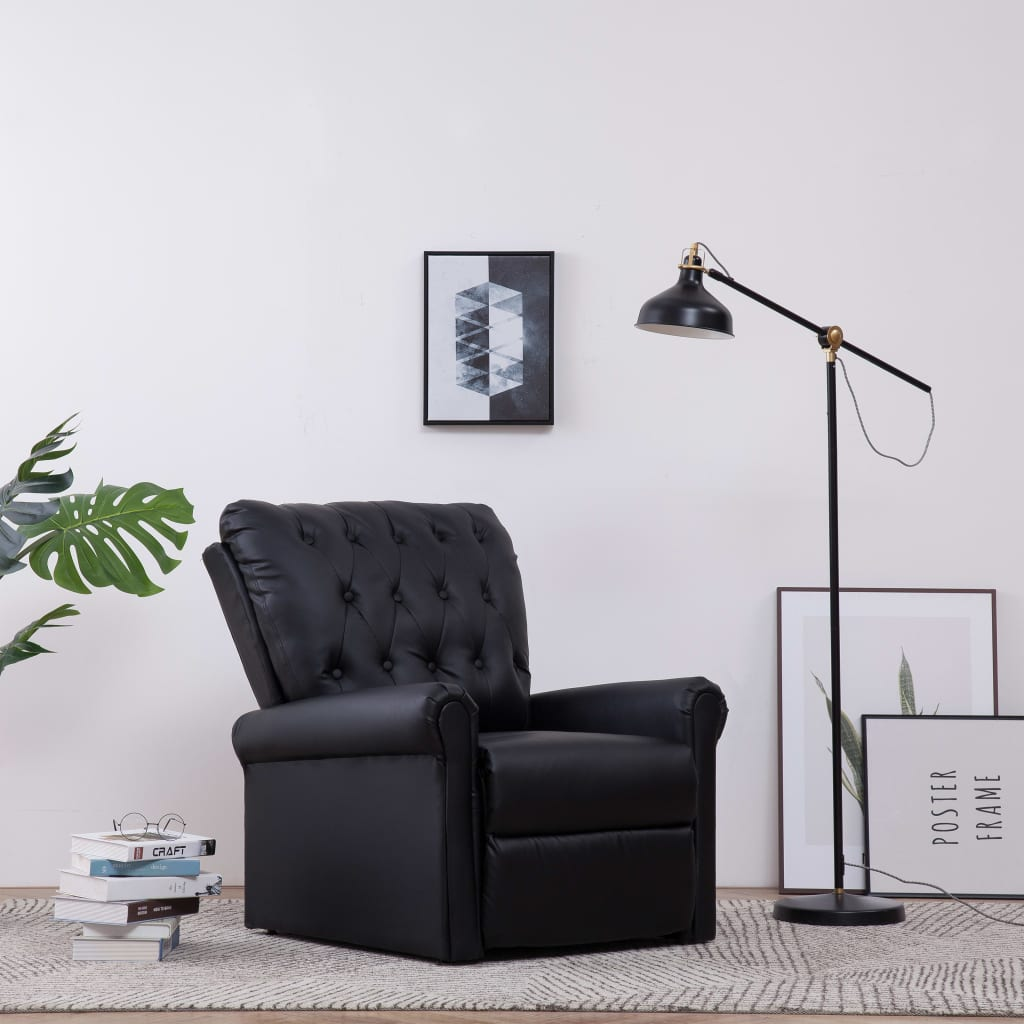 Reclining Chair Black Faux Leather
