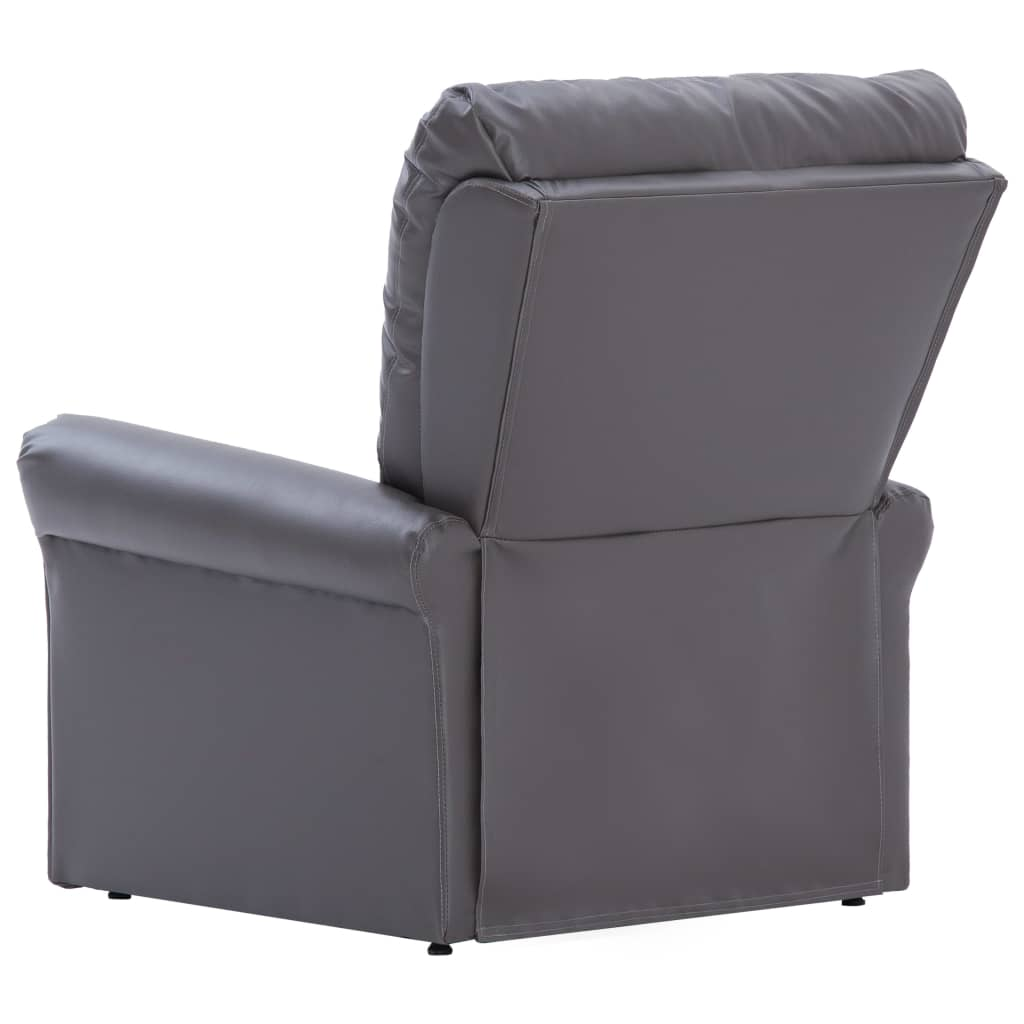 Reclining Chair Grey Faux Leather 6