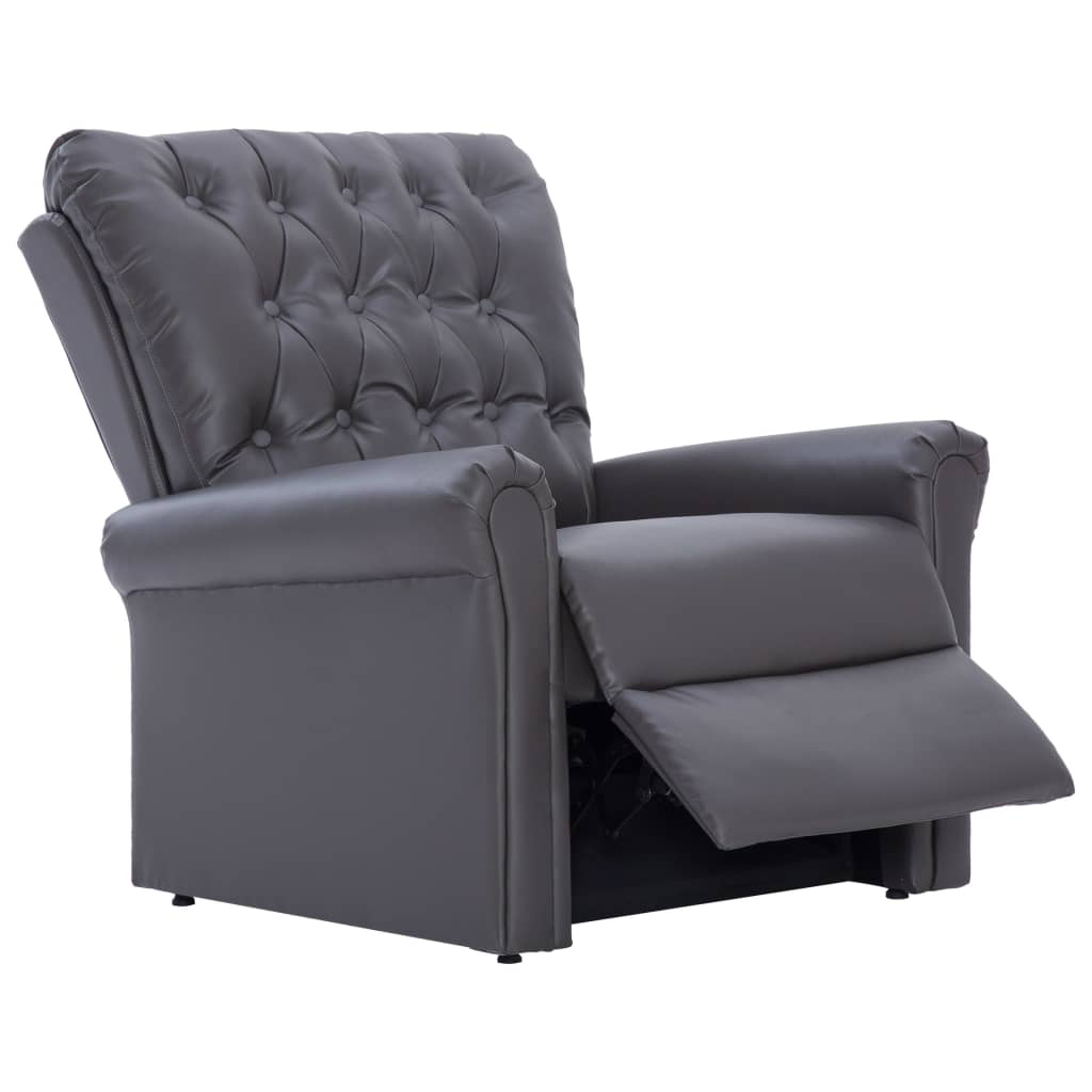 Reclining Chair Grey Faux Leather 7