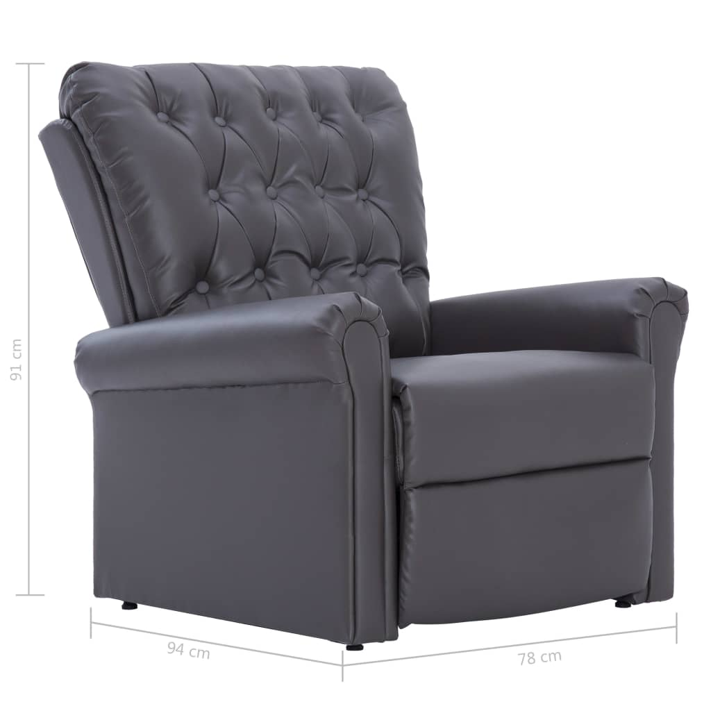 Reclining Chair Grey Faux Leather 11