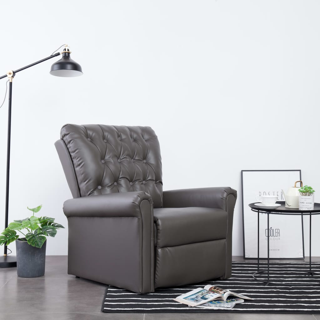 Reclining Chair Grey Faux Leather 1