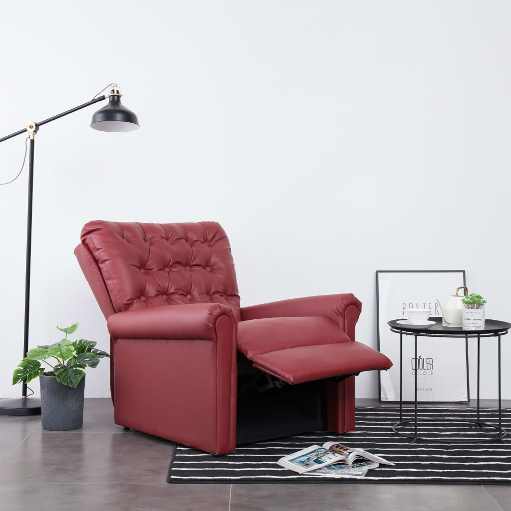 Reclining Chair Wine Red Faux Leather 3