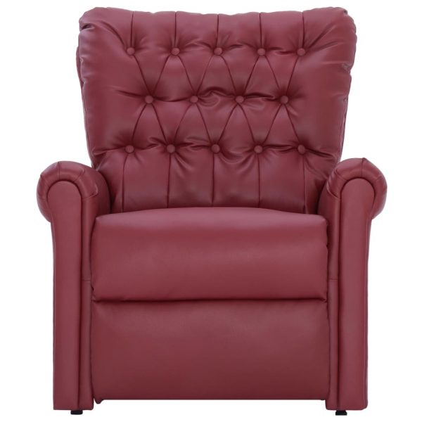 Reclining Chair Wine Red Faux Leather 5