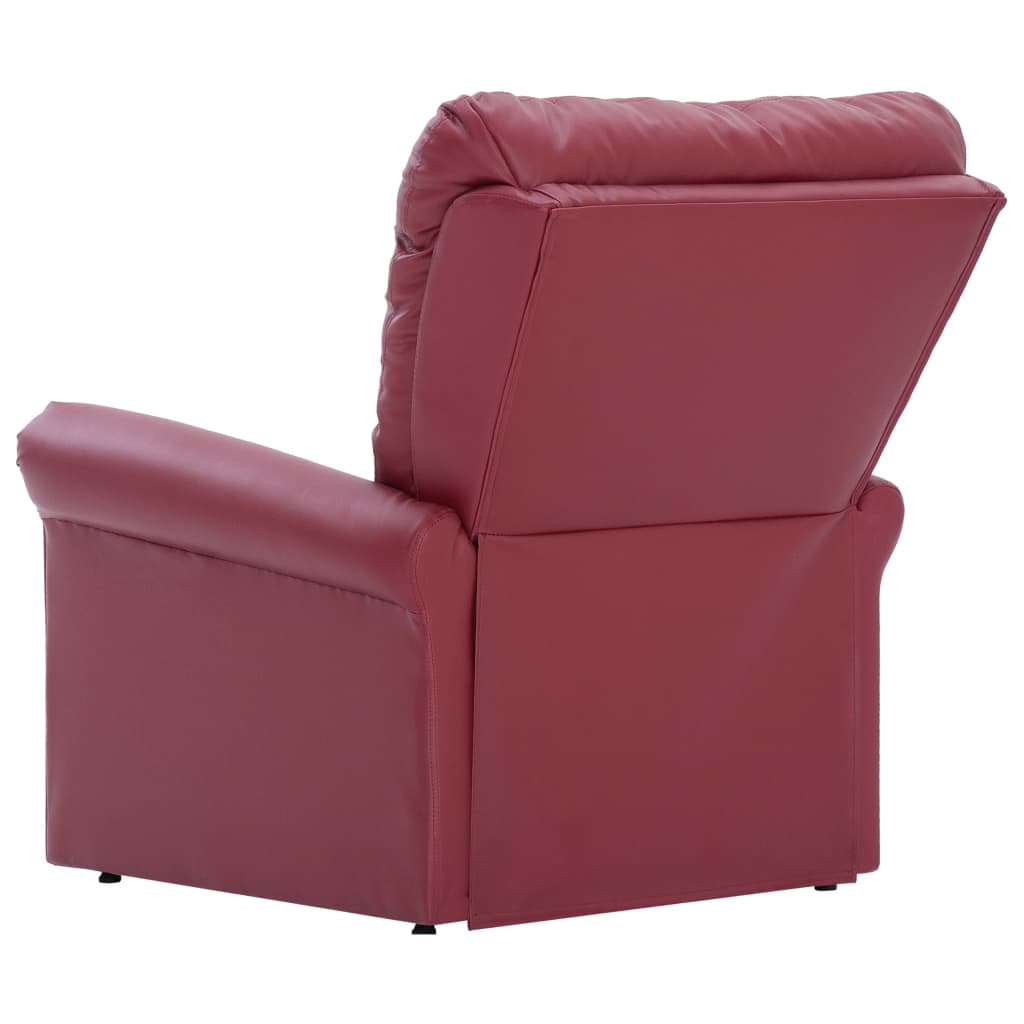 Reclining Chair Wine Red Faux Leather 6