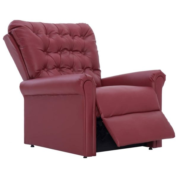 Reclining Chair Wine Red Faux Leather 7