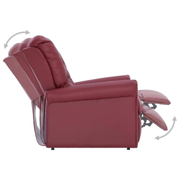 Reclining Chair Wine Red Faux Leather 8