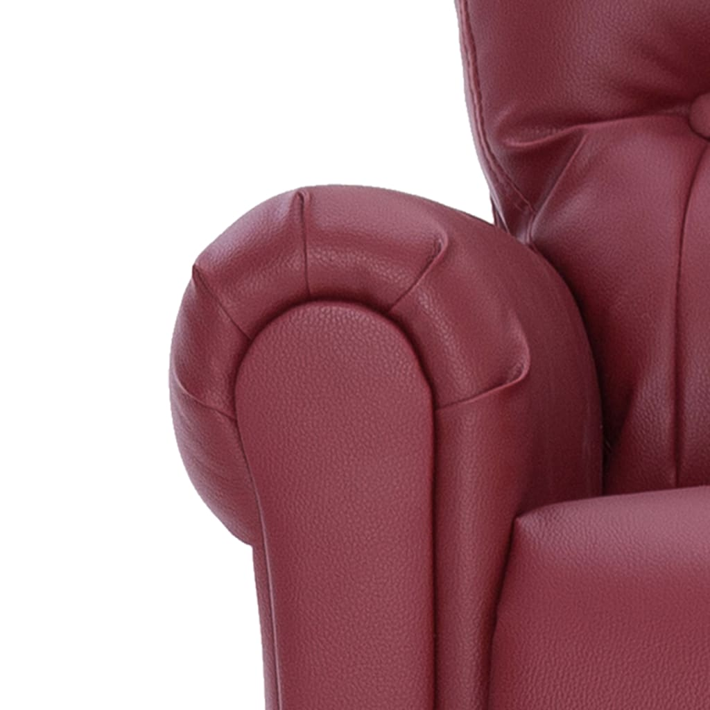Reclining Chair Wine Red Faux Leather 9