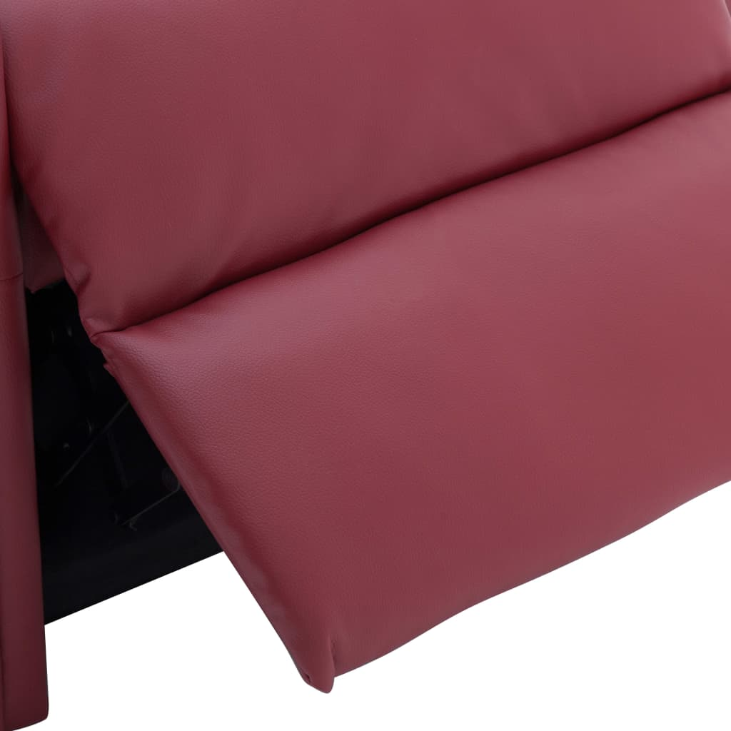 Reclining Chair Wine Red Faux Leather 10