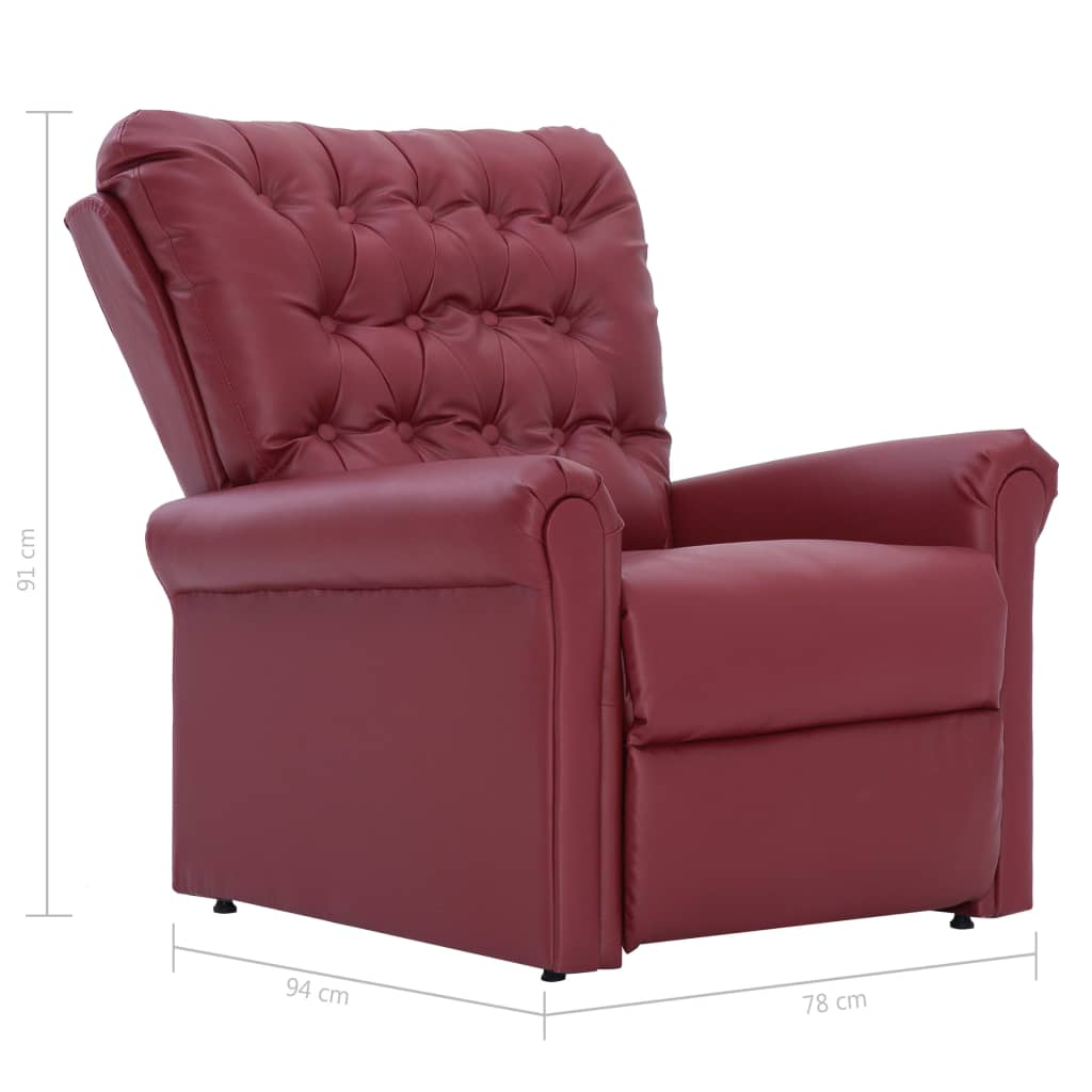 Reclining Chair Wine Red Faux Leather 11