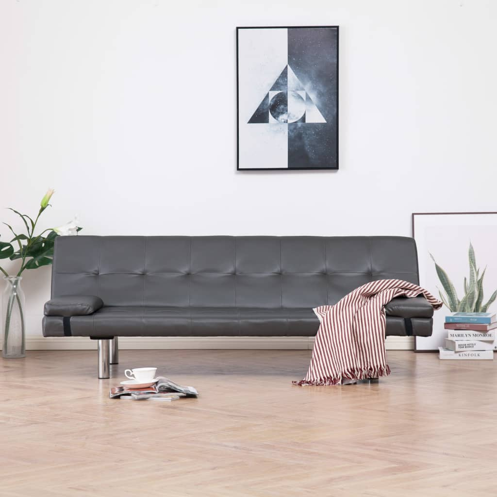 Sofa Bed with Two Pillows Grey Faux Leather 1