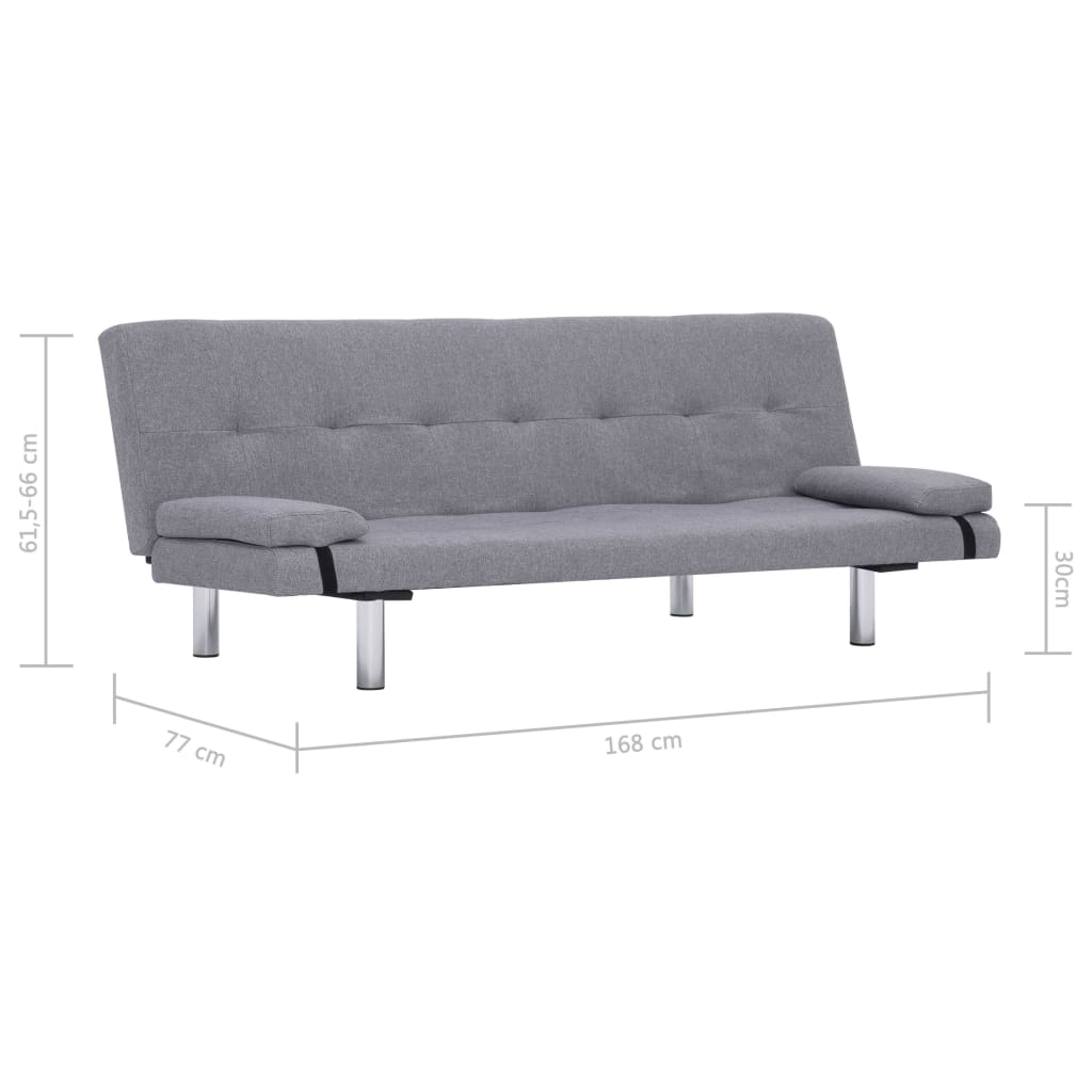 Sofa Bed with Two Pillows Light Grey Polyester 11