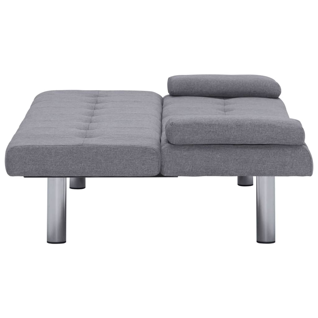 Sofa Bed with Two Pillows Light Grey Polyester 8