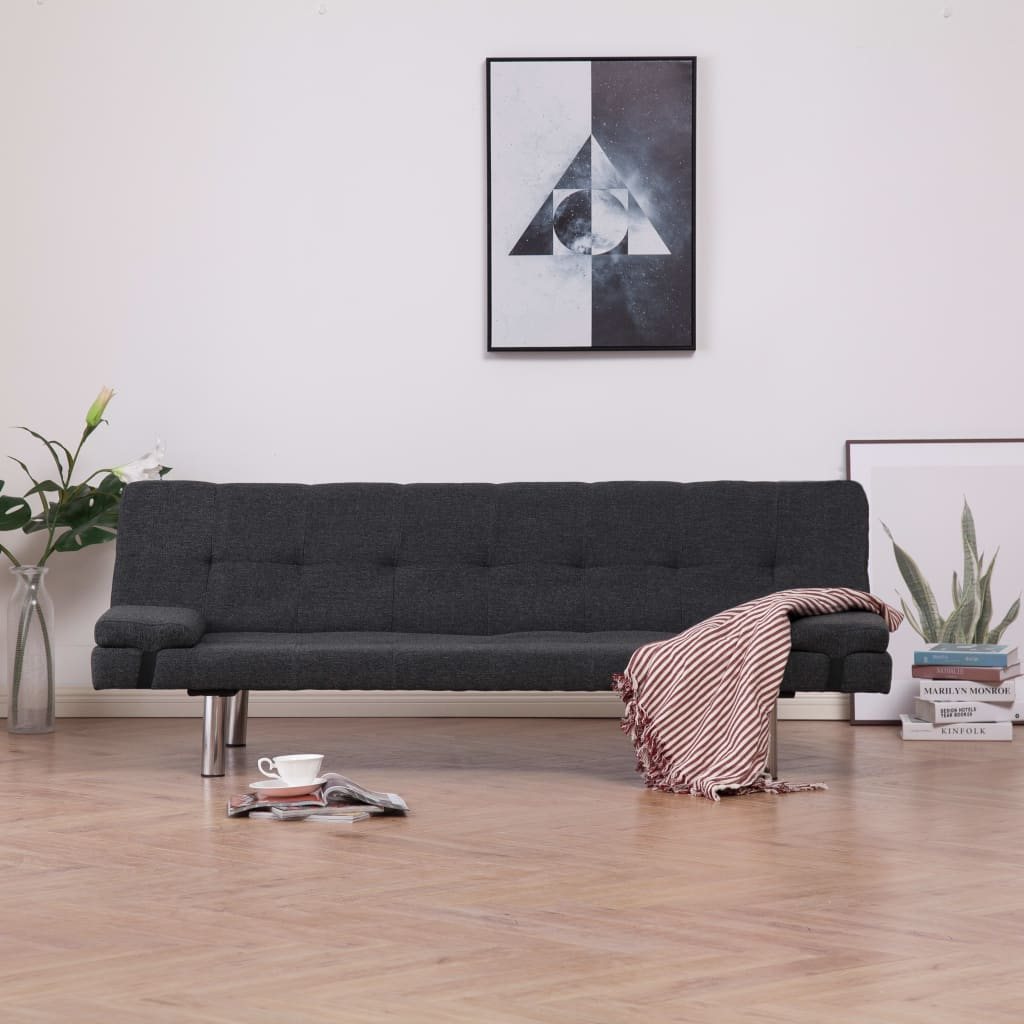 Sofa Bed with Two Pillows Dark Grey Polyester