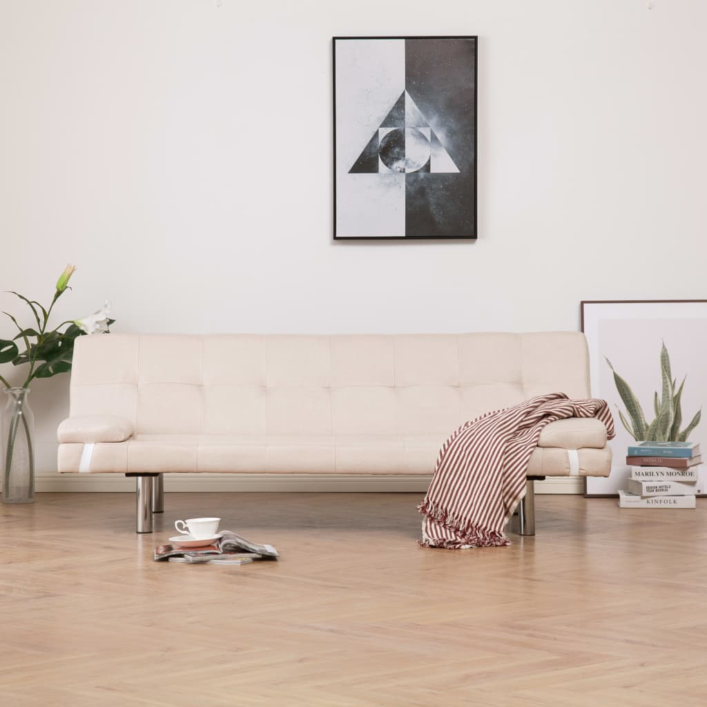 Sofa Bed with Two Pillows Cream Polyester 1