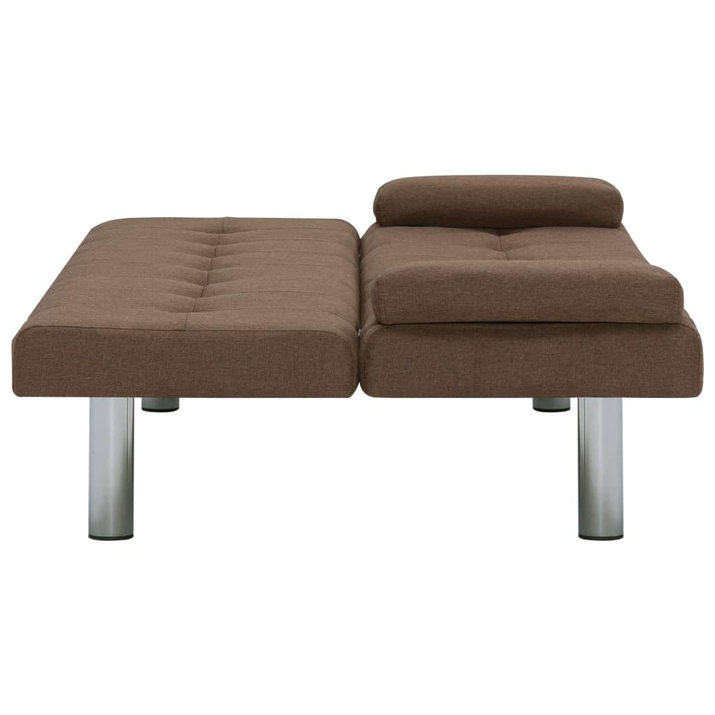Sofa Bed with Two Pillows Brown Polyester 9