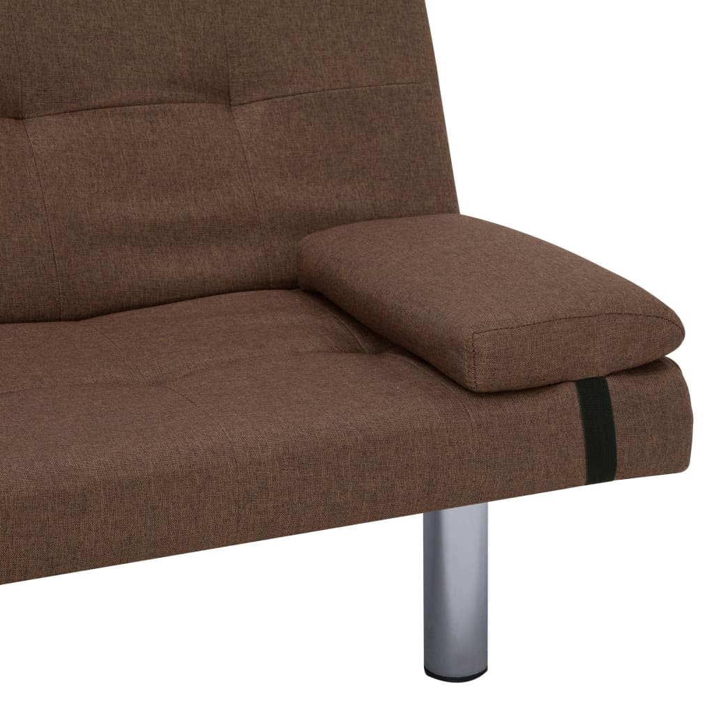 Sofa Bed with Two Pillows Brown Polyester 10