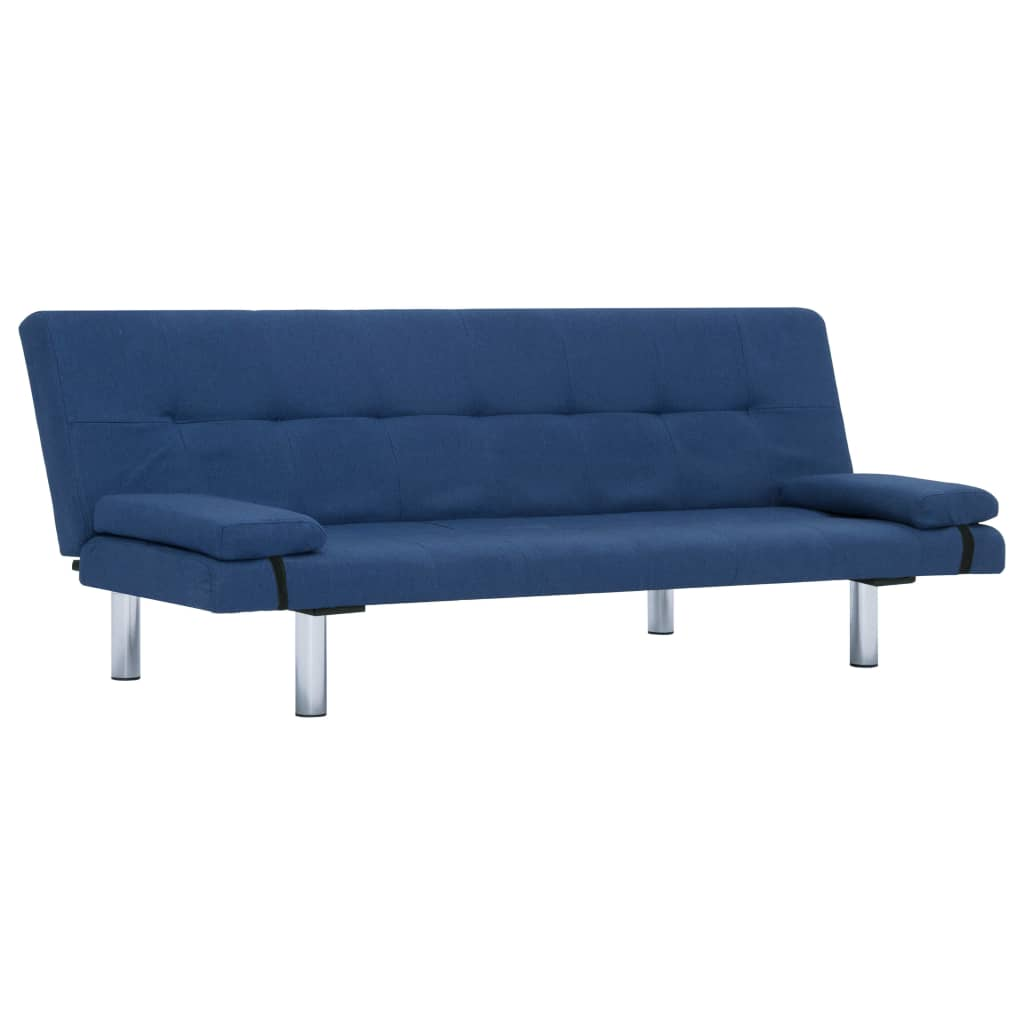 Sofa Bed with Two Pillows Blue Polyester 2