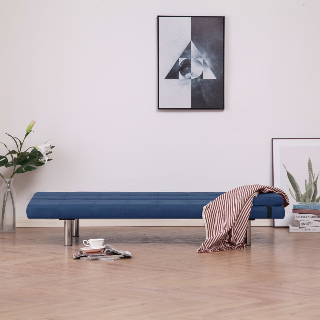 Sofa Bed with Two Pillows Blue Polyester 3