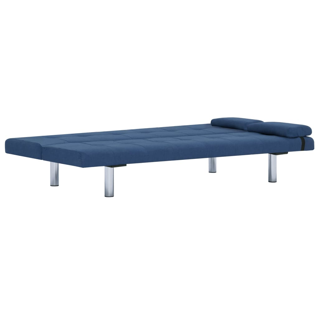 Sofa Bed with Two Pillows Blue Polyester 8