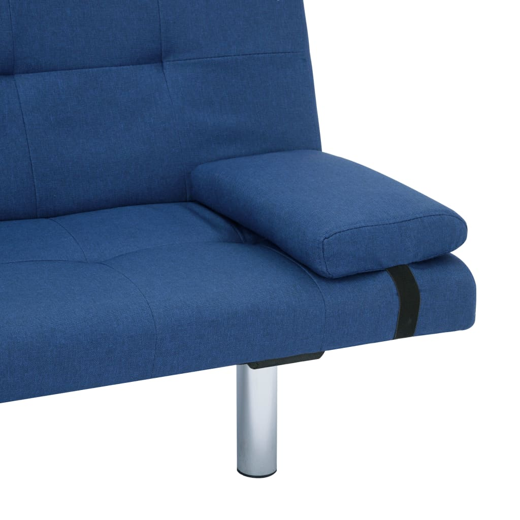 Sofa Bed with Two Pillows Blue Polyester 10