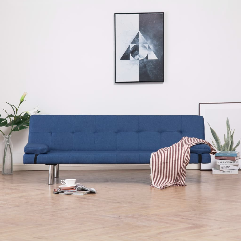 Sofa Bed with Two Pillows Blue Polyester