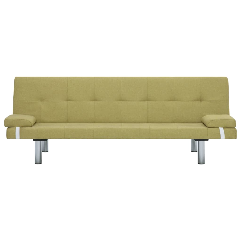 Sofa Bed with Two Pillows Green Polyester 6