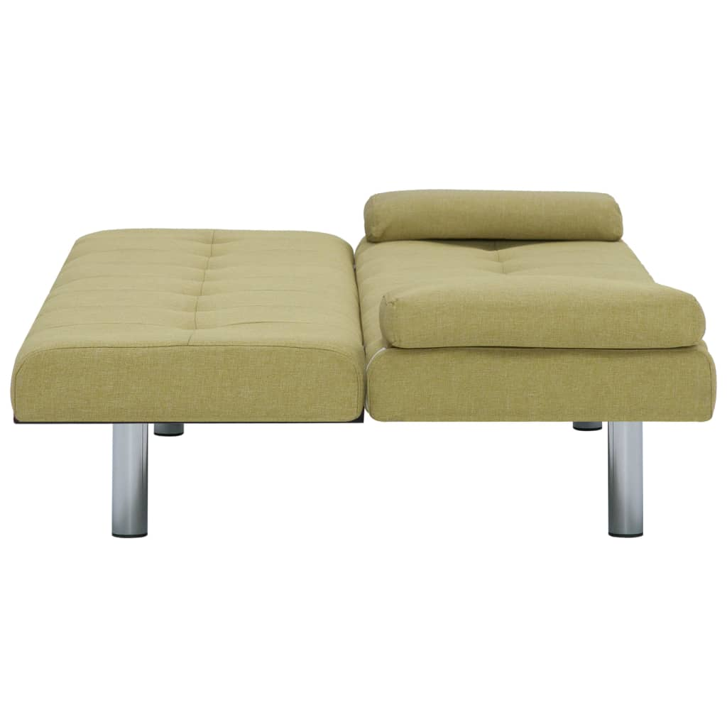 Sofa Bed with Two Pillows Green Polyester 9